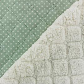 Fourrure mouton réversible matelassé Dots vert x 10cm