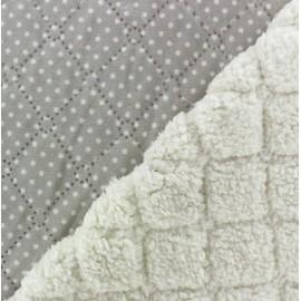 Fourrure mouton réversible matelassé Dots gris x 10cm