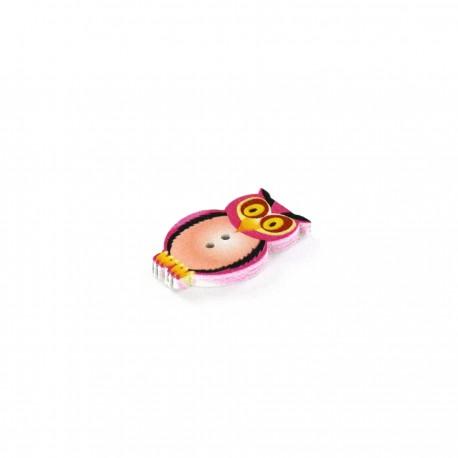 Wooden button, Owl - pink
