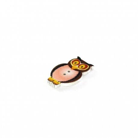 Wooden button, Owl - brown