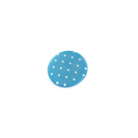 Polyester button, Tante Ema, rounded shaped, mini Polka-dots - light blue