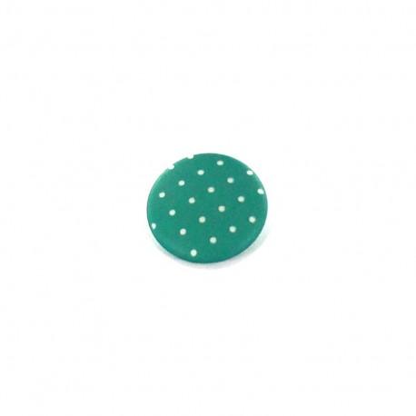 Bouton polyester Tante Ema rond mini pois vert