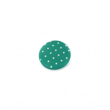 Polyester button, Tante Ema, rounded shaped, mini Polka-dots - green