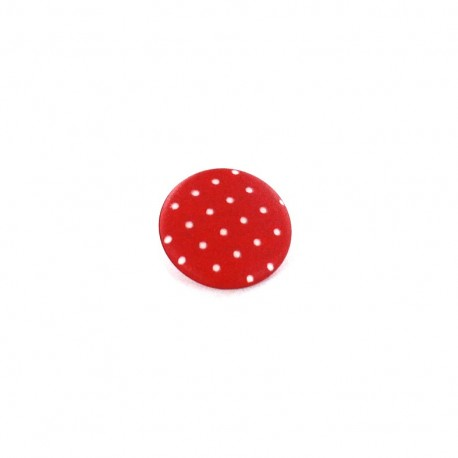 Polyester button, Tante Ema, rounded shaped, mini Polka-dots - red