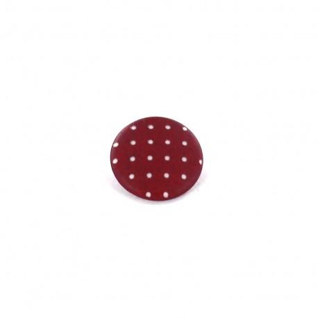 Polyester button, Tante Ema, rounded shaped, mini Polka-dots - fuchsia
