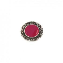 Bouton métal coeur coloré fuchsia