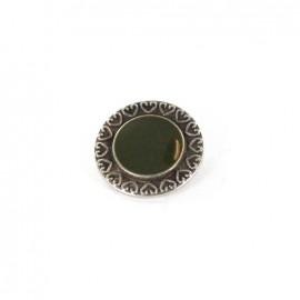 Bouton métal coeur coloré vert anglais