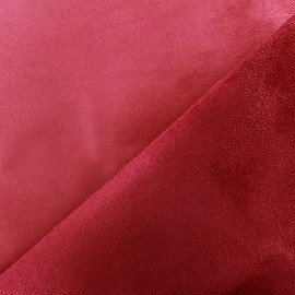 Bicolour thick Suede fabric Alaska - vermillon/cherry x 10cm