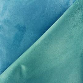 Tissu Suédine épaisse bicolore Alaska turquoise/aqua x 10cm