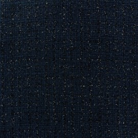Tweed fabric Glossy navy blue x 10cm