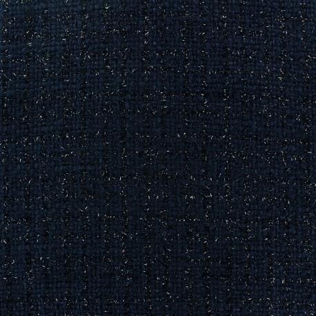 Tissu Tweed Glossy marine x 10cm