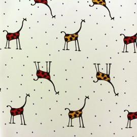 Crepe fabric Sweet Giraffe - ecru x 10cm