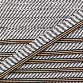 Ruban aspect sergé rayures marron x 1 m