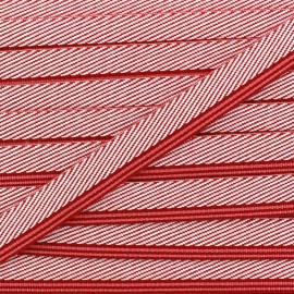Ruban aspect sergé rayures rouge x 1 m