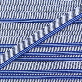 Ruban aspect sergé rayures bleu x 1 m