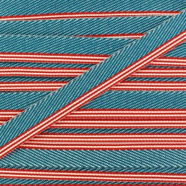 Ruban aspect sergé rayures turquoise/ rouge x 1 m