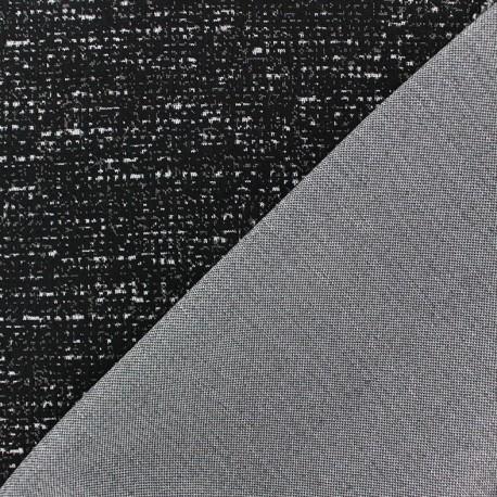 Tissu jersey épais réversible moucheté noir x 10cm