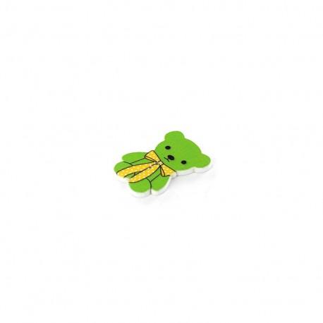 Wooden button, Teddy bear - green