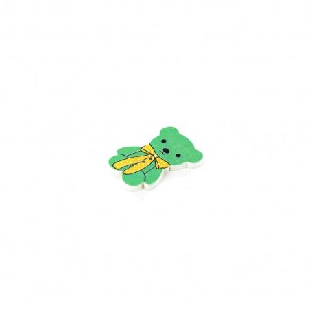 Bouton Bois Teddy bear vert d'eau