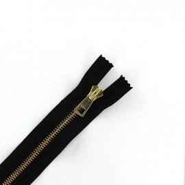Fermeture Eclair-Plus® fine métal doré non séparable noir - 6 mm