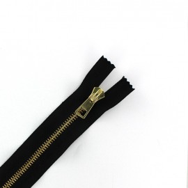 Metal golden thin Closed bottom zipper 6 mm - black