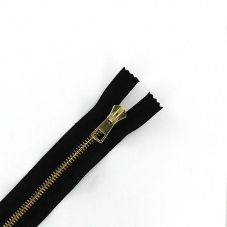 Metal golden thin Closed bottom zipper 6 mm - black