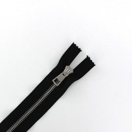 Fermeture Eclair-Plus® fine métal argent non séparable noir - 6 mm