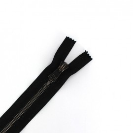 Metal gun thin Closed bottom zipper 6 mm - black