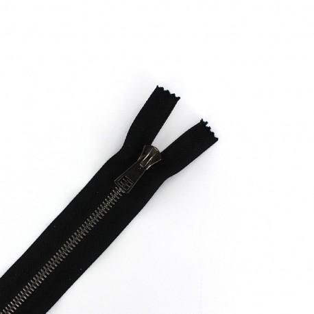Thin metal gun Separating zipper - black