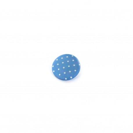 Bouton polyester Tante Ema rond mini pois bleu