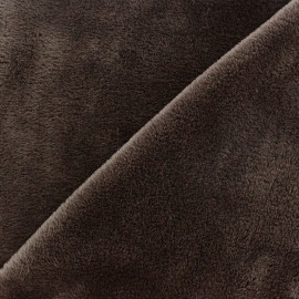 Sweat reverside Minkee velvet Fabric - cacao x 10cm