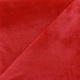 Tissu sweat envers minkee rouge x 10cm
