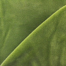 ♥ Coupon tissu 75 cm X 150 cm ♥ Sweat reverside Minkee velvet Fabric - olive