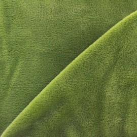 Tissu sweat envers minkee olive x 10cm