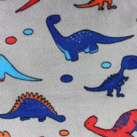 Tissu Doudou Dino gris x 10cm