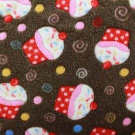 Tissu Doudou Cupcakes marron x 10cm