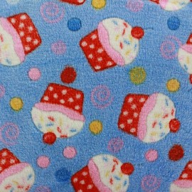 Tissu Doudou Cupcakes bleu x 10cm