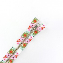 Metal closed bottom zipper - flower power