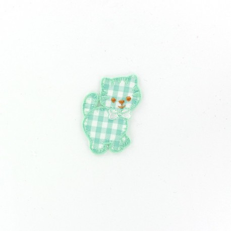 Cat iron-on applique - light green gingham
