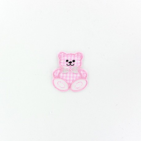 Teddy iron-on applique - pink gingham