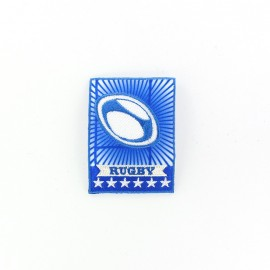 Rugby badge VI iron-on applique - blue