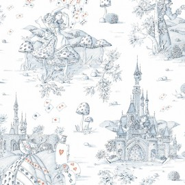 Cotton canvas fabric Au pays des merveilles - blue/red x 52 cm