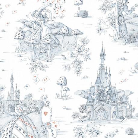 Cotton canvas fabric Au pays des merveilles - blue/red x 62 cm