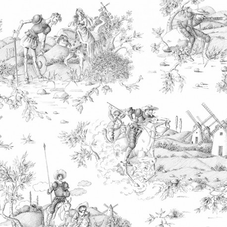 Cotton canvas fabric Don Quichotte - black x 62 cm