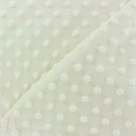 Tissu Velours minkee doux relief à pois écru x 10cm