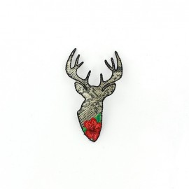 Fashion deer head reptil flower iron-on applique - red