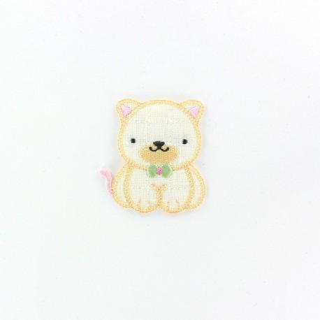 Quilted baby kitten iron-on applique - beige