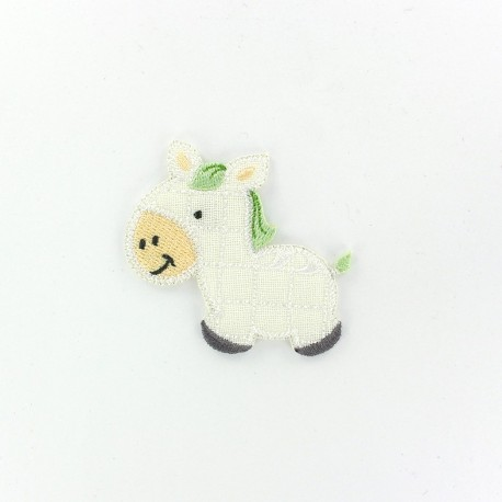 Quilted baby foal iron-on applique - white