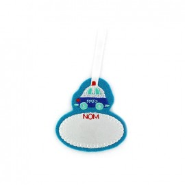 Padded Baby car label iron-on applique - light blue
