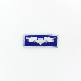 Wings stripe Airborne badge iron-on applique - blue